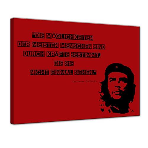 Keilrahmenbild mit Zitat - Die Möglichkeiten der meisten Menschen. (Che Guevara) 120x90 cm - Sprüche und Zitate - Kunstdruck mit Sprichwort - Vers - Bild auf Leinwand - Bilder als Leinwanddruck