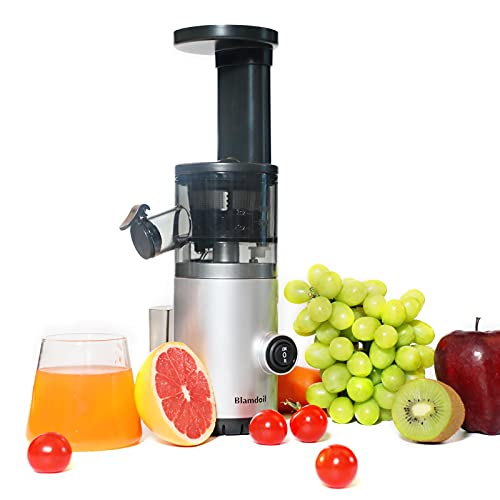 Blamdoil Compact Slow Juicer Masticating Extractor,Cold Press Juicer for High Nutrient Fruits and Vegetables,Electric Small Juicer BPA-Free,Easy to Clean,Quiet Motor,Reverse Function (Silver 110V)