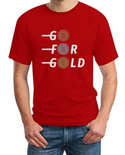Go for Gold - Bronze, Silber, Gold Fanshirt Für Olympische Spiele T-Shirt XXX-Large Rot