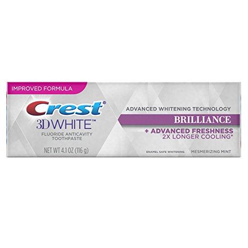 Crest 3D White Brilliance Advanced Teeth Whitening + Advanced Freshness Toothpaste, Mesmerizing Mint, 4.1 oz