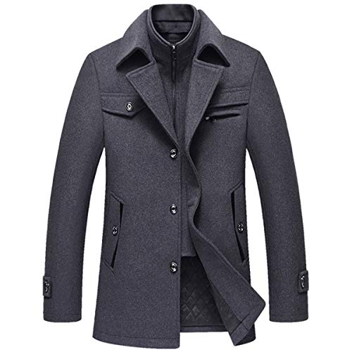 Allthemen Wintermantel Kurzmantel Herren Schwarz Wollmantel Stehkragen Herren Winter Mantel Warm Kurz Slim Fit Winterjacke Business
