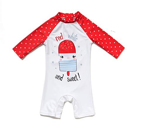 Baby Girl Badeanzug Ein stück Kurzärmel-Kleidung UV-Schutz 50+ Badebekleidung MIT Einem Reißverschluss(Weiße-EIS,24-36M)