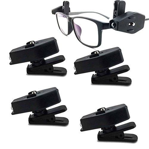 NUZAMAS Set mit 4 Stirnlampen, Kappe mit Clip auf Kappe, Hut, Brille, Licht, 360 Grad drehbar, leicht, für Camping, Wandern, Angeln, Joggen, Lesen, automatische Arbeit