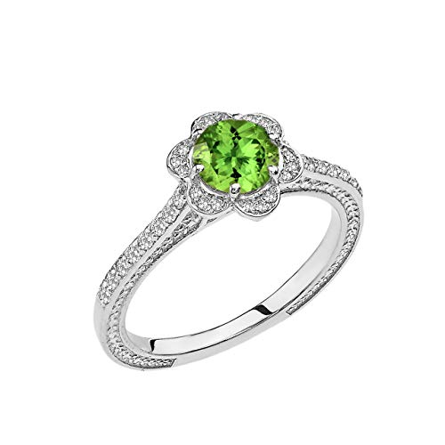 Modern Contemporary Rings 14k White Gold Diamond Engagement/Proposal Ring with Genuine Peridot Center Stone (Size 5.5)