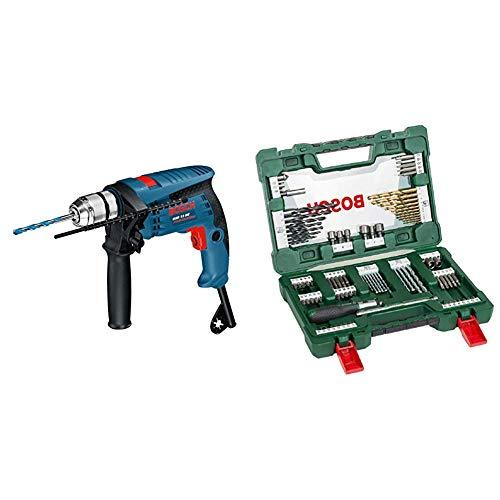 Bosch Professional GSB 13 RE - Taladro percutor, juego de accesorios, en caja, 600 W + Bosch V-Line Titanio - Maletín de 91 unidades para taladrar y atornillar