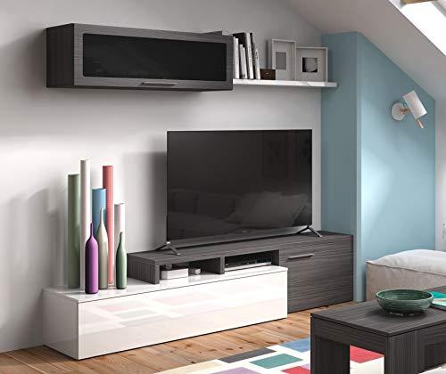 Dmora Mobile Soggiorno Porta TV, Set da Salotto Reversibile (posizionabile ad Angolo), con Due Ante, modulo pensile e mensola, Colore Cenere Lucido, cm 44 x 200 x 41, Grigio e Bianco