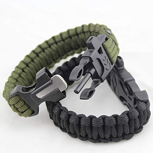 Yuio Outdoor Regenschirm-Armband Notfall Survival Armband Rettungsschirm mit Feuerstein Pfeife Feuerstein Regenschirm-Armband (schwarz)