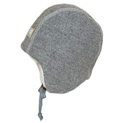 PICKAPOOH Baby/Kinder Wintermütze Jan Bio-Wollwalk/Bio-Baumwolle, Grey, 46