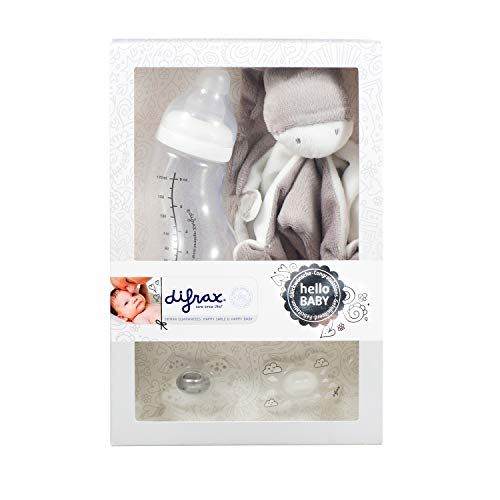 Difrax Baby Geschenkset Unisex Jungen Mädchen - Anti-Kolik Babyflasche, Schmusetuch, 2x Schnuller - Mutterschaftsgeschenk