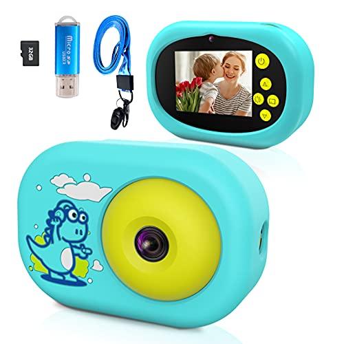 Ushining Kinderkamera, Digitalkamera für Kinder, 1080P HD Videokamera mit 32GB TF Karte 2,4 Zoll IPS Bildschirm, USB Wiederaufladbare Selfie Kamera für 3 bis 12 Jahre Alter mädchen und Jungen - Blau