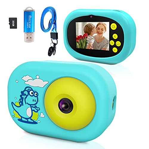 USHINING Kids Camera for Boys Girls Age 3-12 Digital Camera for Kids Christmas Birthday Gifts 1080P HD Camcorder Kids Camera Anti-Drop Toddler Toy Camera with 32GB SD Card (Blue)