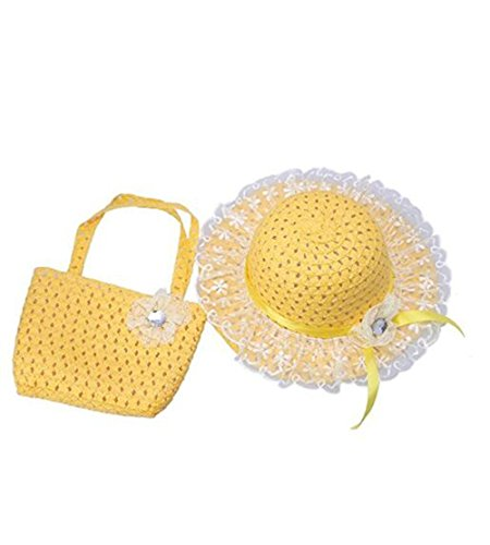 Jiuhexu Kids Straw Sun Hat Handbag Sets Children Beach Caps Prop Outfit 9Colors (Yellow)