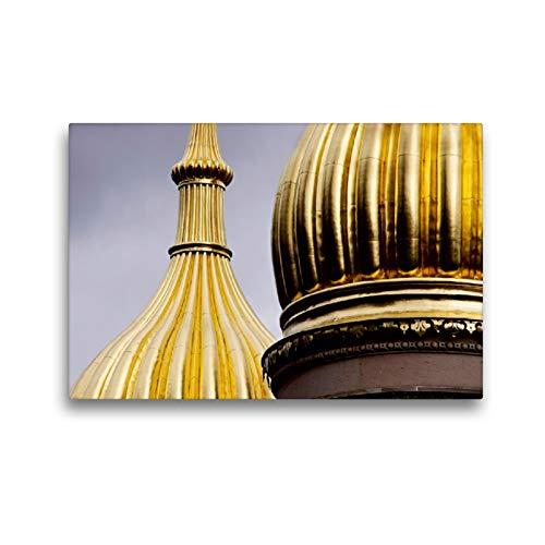 Premium Textil Leinwand 45 cm x 30 cm horizontal, la Iglesia rusa Wiesbaden - Cuadro sobre lienzo auténtico, imagen sobre lienzo, diseño de torres de cebollas (CALVENDO Orte);CALVENDO Orte
