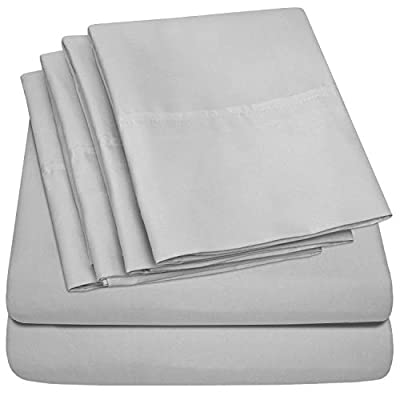Sweet Home Collection Queen Sheets-6 Piece 1500 Thread Count Fine Brushed Microfiber Deep Pocket Set-EXTRA PILLOW CASES, VALUE, Silver