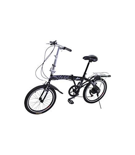 Riscko Bicicleta Plegable Metric Negra con 7 Velocidades Manillar y Sillín Ajustables