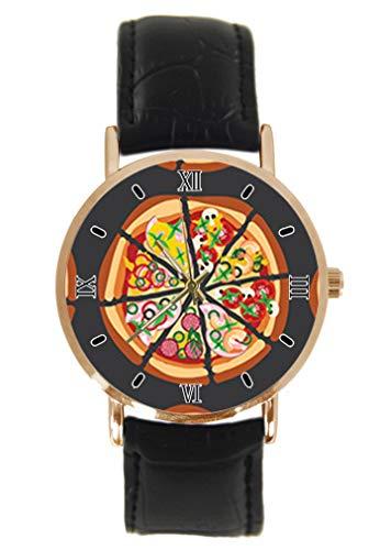 Delicious Pizza Armbanduhr Fashion Classic Unisex Analog Quarz Edelstahl Gehäuse Lederband Uhren