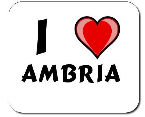 Mauspad mit Aufschrift Ich liebe Ambria (Vorname/Zuname/Spitzname)