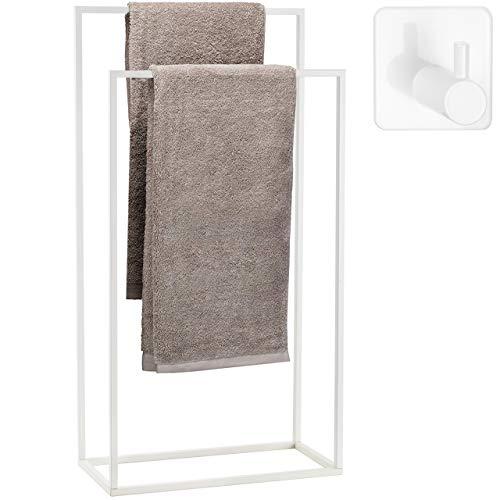 Toallero de pie para baño Acero Inoxidable – Cubierta Polvo Blanco – toalleros de baño de pie con 2 Brazos +MÁS Gancho Adhesivo