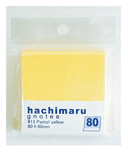 プリントインフォームジャパン gnotes 全体の80%にのり!!ラベルのようなふせん 「hachimaru」60x60mm (パステルイエロー)