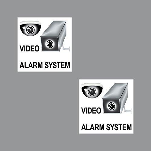 2 Sticker 7cm Aufkleber Video Alarm Anlage System Überwachung Hinweis Warnung Haus Fenster