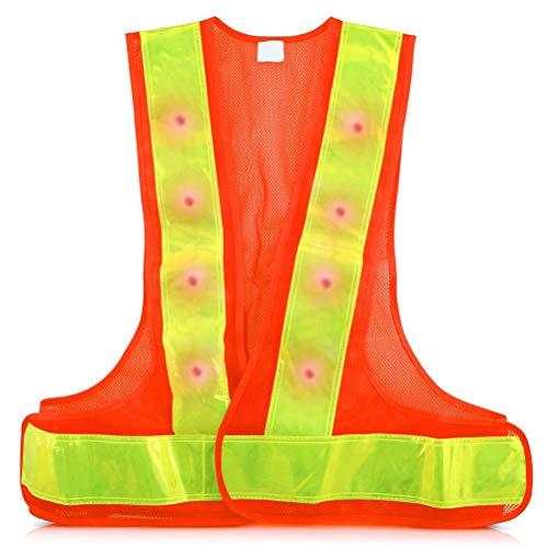 Led-reflectorvest met 16 ledlampen, veiligheidsvest, 2 modi, reflecterend vest voor hardlopen, outdoor, fiets, sport oranje