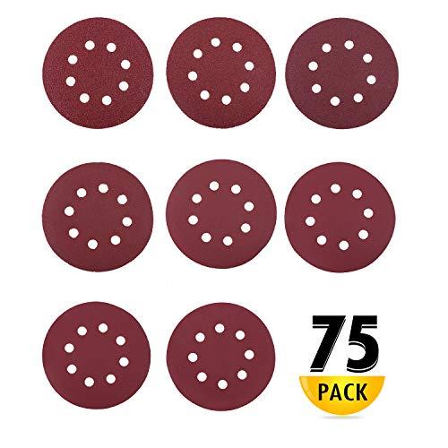 HIRALIY Schleifpapier 125mm, 75pcs Schleifscheiben Klett 40/60/80/120/180/240/320/400, 8 Loch Klett Schleifpapier für Exzenterschleifer