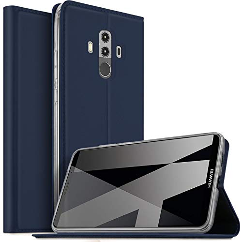 Verco Handyhülle für Mate 10 Pro, Premium Handy Flip Cover für Huawei Mate 10 Pro Hülle [integr. Magnet] Book Hülle PU Leder Tasche, Blau