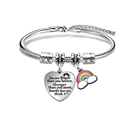 ACAROMAY Encourage Bangles Inspirational Bracelets Daughter Sister Friend Graduation Appreciate Gift You are Braver Stronger Smater than You Think