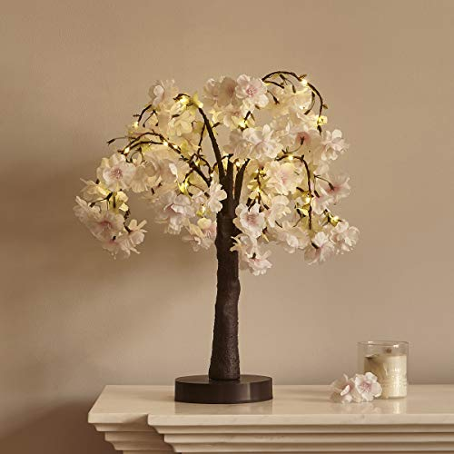 LITBLOOM Lighted Cherry Blossom Tree 18IN 40 LED with Timer Artificial Tabletop Bonsai Tree Lights USB Plug and Battery Operated for Wedding Party Easter Holiday Decoration