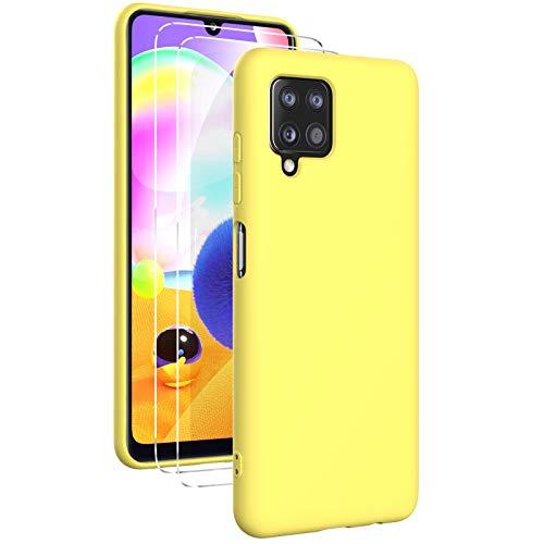 Oududianzi - Funda para Samsung Galaxy A12 con 2 Pack Protector de Pantalla de Vidrio Templado, Funda de Silicona Líquida Suave Case de Goma Ultrafina a Prueba de Choques de Color Puro - Amarillo