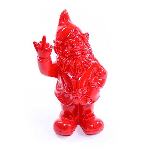 Stone-Lite Figur - Gartenzwerg mit Stinkefinger - 20 cm - rot - lustiges Geschenk