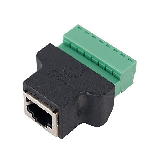COVVY RJ45 Schraubklemmenadapter, CCTV/DVR Ethernet Verbindungsstück RJ45 Weibliches Jack zu 8 Pin Schraube RJ45 Verbindungsstück (1PCS)
