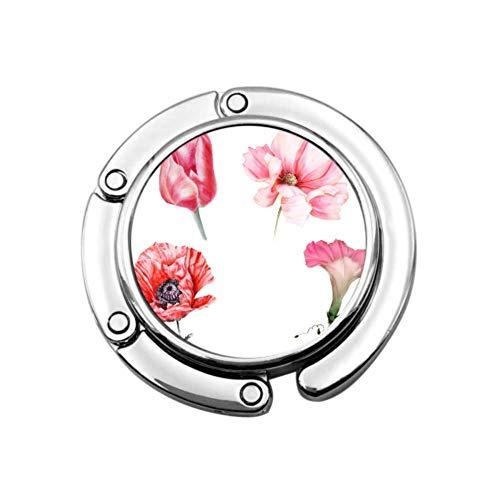 Conjunto de Gancho de Monedero Flores Rojas de jardín Ipomoea Bolso Plegable Bolso de Mesa Bolso de suspensión Colección Ganchos de Escritorio