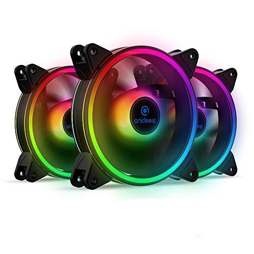 anidees AI Tesseract Duo 120mm 3pcs Doppelter Ring RGB PWM Gehauselufter kompatibel mit adressierbar 5V 3Pin ASUS Aura SYNCMSI Mystic SyncGIGABYTE Fusion RGB Header auf MB mit Fernbedienung