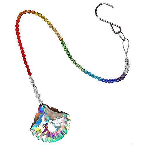 NHFVIRE 40Mm Clear Crystal Scallop Design Anhänger Chakra Rainbow Maker Collection Hängende Hochzeitsbevorzugungen Kostenlose Tücher