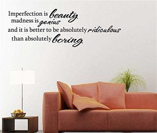 Pegatinas removibles para pared Imperfection is Beauty Madness is Genius y es...