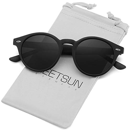 ROYAL GIRL Round Polarized Sunglasses Women Men Vintage Retro Brand Shades UV400 Lens (Blue Mirrored)