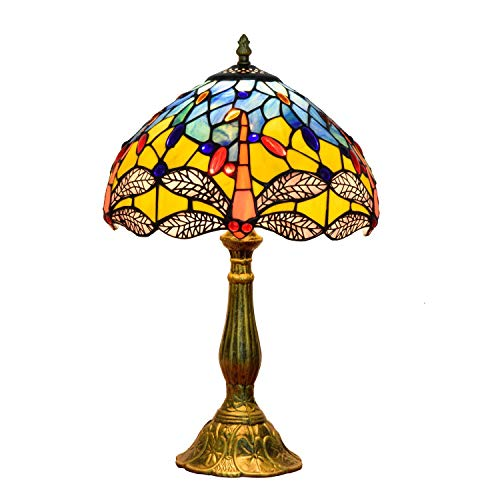 AWCVB Tiffany Vitreil Escritorio Lámpara Lámpara Sala Sala De Estar Americano Pastoral Creatividad Noche Bar Arte Amarillo Tiffany Cuadro Lámparas