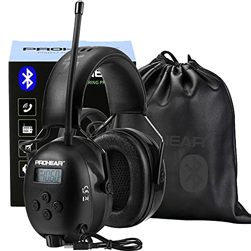 PROHEAR 033 Upgraded Bluetooth Hearing Protection Headphones with FM/AM Radio, 25dB NRR Safety Muffs with Rechargeable Battery, 48H Playtime, Ear Protector for Mowing, Work Shops, Snowblowing - Black