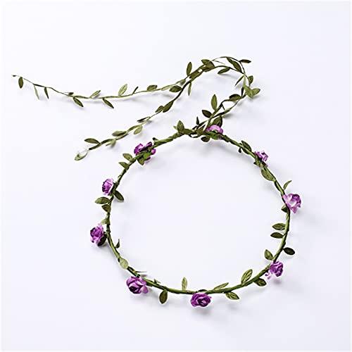 Wandskllss 21 piezas de flores diadema guirnalda bohemia floral corona para mujeres niñas accesorios para el pelo para bodas, festivales de fiesta, multicolor púrpura 1 pieza