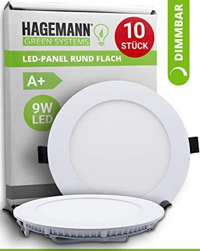 HAGEMANN® 10 x LED Panel rund dimmbar 9 Watt 890lm – Ø 135mm Bohrloch – flach 230V LED Spots Deckenleuchte