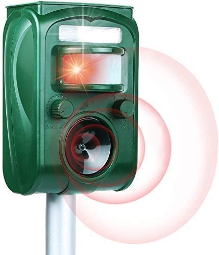 Traputa Repulsif Chat Exterieur Ultrason- Solaire Répulsif Chat Exterieur Sensibilité et Fréquence Réglable Ultrason Chat pour Repousser Animaux Nuisibles Protecteur de Jardi x1
