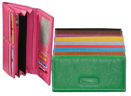 Große Damengeldbörse mit 9 Kartenfächern - Kunstleder Portemonnaie 19x10x3cm in Grün