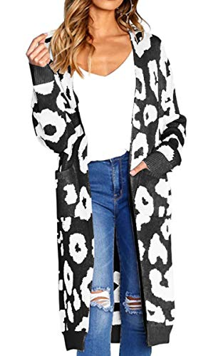 Angashion Women's Long Sleeves Leopard Print Knitting Cardigan Open Front Warm Sweater Outwear Coats with Pocket Black M