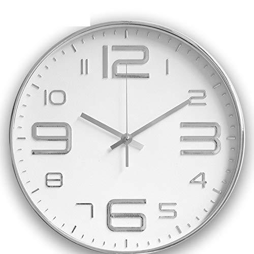 Reloj de pared de pared de silencio, no se cae, reloj de pared, sala de estar, dormitorio, reloj de pared, moderno y decorativo de cuarzo, 186, 30 cm