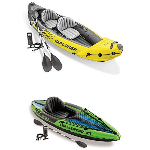 Intex 2-Person Inflatable Kayak with Oars and Pump and 1-Person Inflatable Kayak