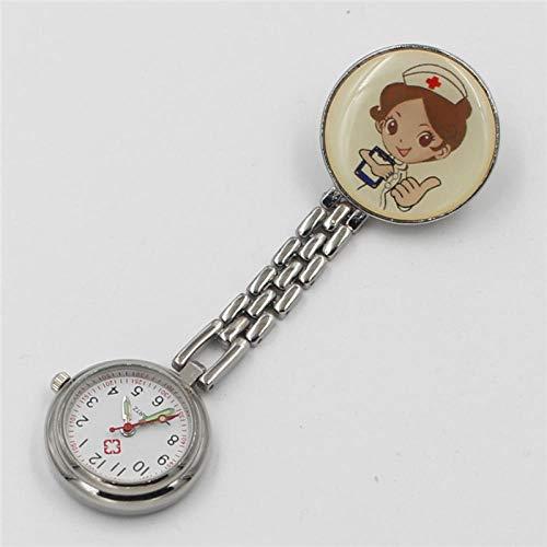 Cxypeng Taschenuhr für Krankenschwestern,Karikaturlegierungs-Krankenschwesteruhr, Taschenuhrkrankenhaus-Prüfungstabelle-Golden,Schwesternuhr Pulsuhr