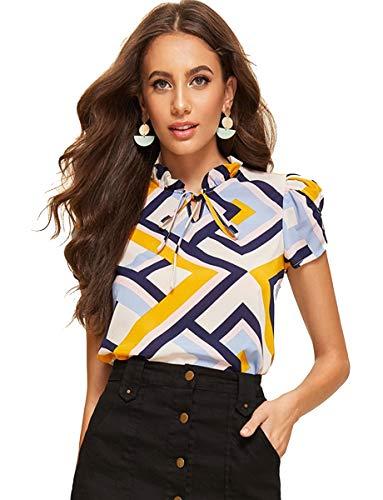 Romwe Women's Chiffon Casual Petal Short Sleeve Bow Tie Blouse Top Shirts Multicolor S