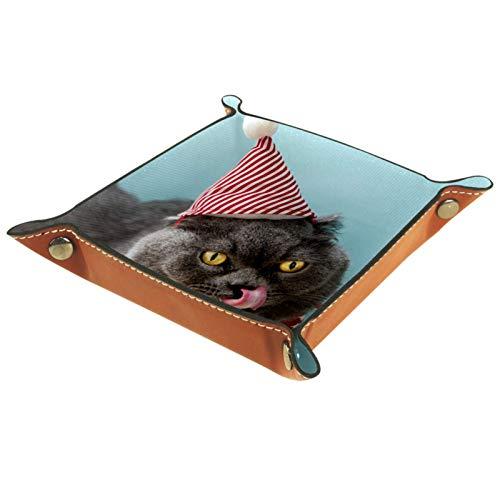 AITAI Valet Tablett aus veganem Leder, Nachttisch-Organizer, Schreibtisch-Aufbewahrung, Teller, Katze, mit roter Schleife
