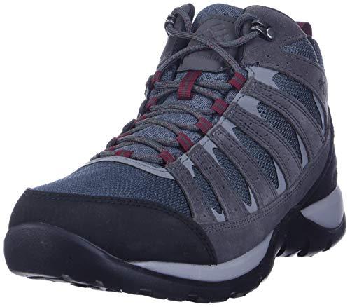 Columbia Redmond V2 Mid, Scarponcini da Hiking Impermeabili Uomo, Grigio/Rosso (Graphite, Red Jasper), 50 EU